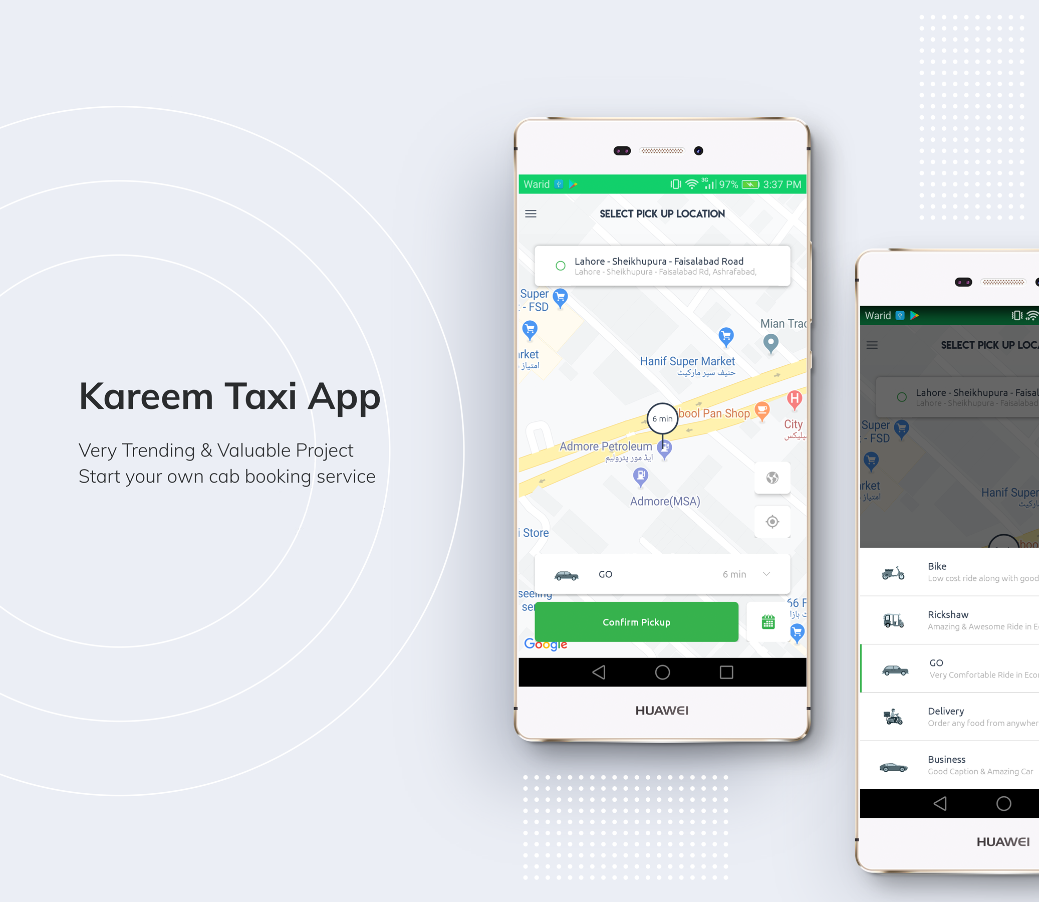 Kareem Taxi App - Cab Booking Solution + admin panel - 1