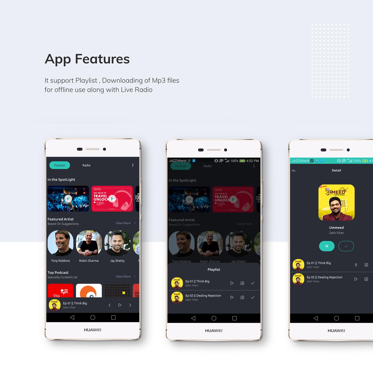 Slotify App (Mp3 , Live Radio , Podcast ) - Audio Streaming Solution + Admin Panel - 3